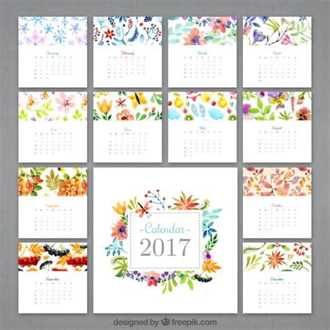 flower design kalender watercolor flowery calendar 2017 vector free download