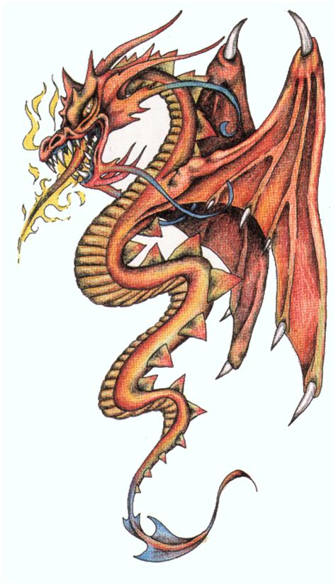 fire breathing dragon tattoo designs dire orange breathing with design