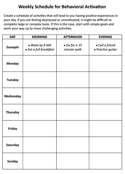 therapy schedule template weekly schedule for behavioral activation worksheet