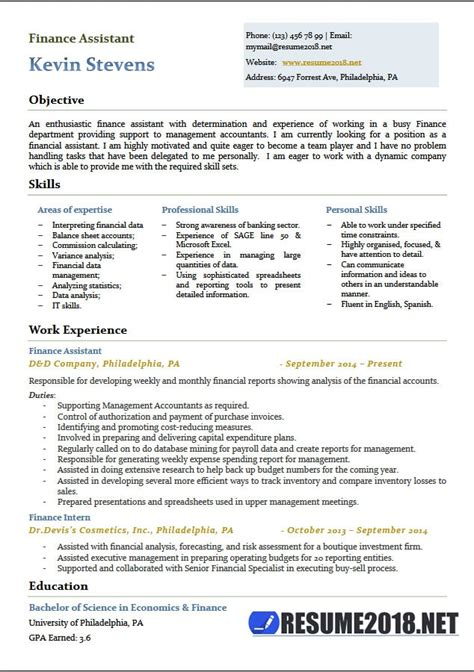 executive resume format 2018 finance assistant resume templates 2018 6 sles in word