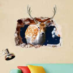 Removable Christmas Wall Stickers pag 3d christmas deer sticker wall decals home 3d