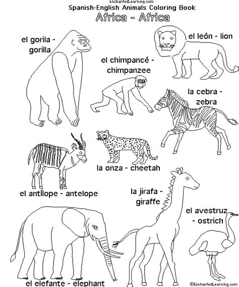 how do you say coloring pages in spanish african animals in spanish enchantedlearning com