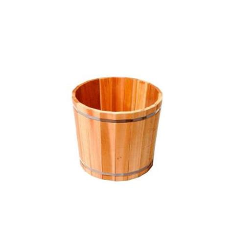 cedar barrel wood planter kclc936 the home depot