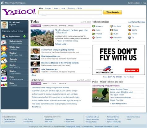 yahoo layout of home page yahoo s all new home page a mix of old and new techcrunch