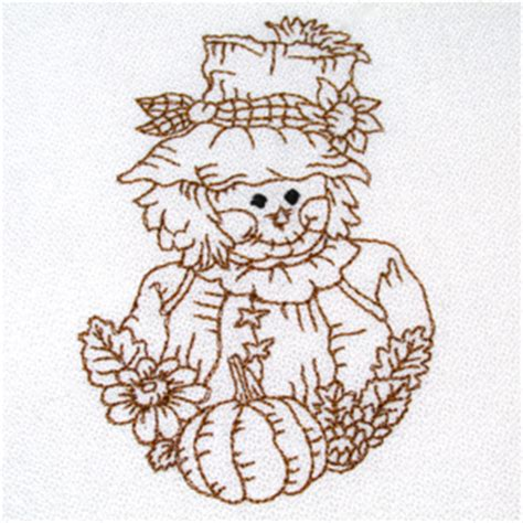 Vacation Home Designs scarecrow fall autumn redwork embroidery designs