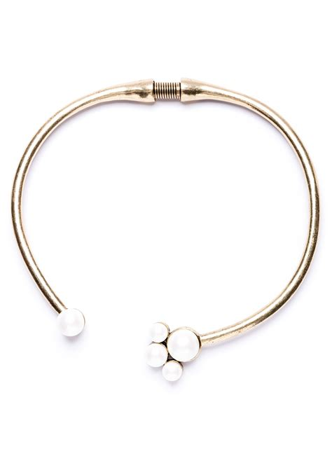 Choker Penta Gold Rings Choker bliss pearl choker necklace in gold happiness boutique