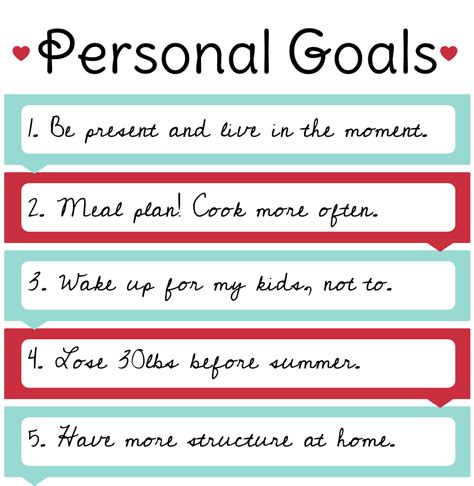 personal goal setting template my personal goals exles setting personal family and