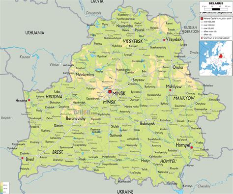Small American Towns by Physical Map Of Belarus Ezilon Maps