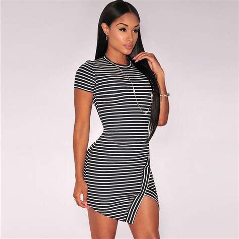Limited Bilbao Dres Casual Dress Dress Slit sleeve striped casual t shirt dress split mini