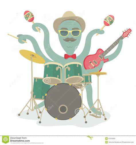 hipster octopus play music stock illustration image