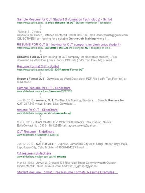 sle resume objectives for ojt psychology students sle resume for ojt student