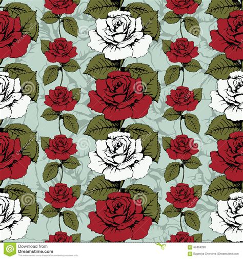 roses rose buds and ornate seamless background with white roses and buds vector