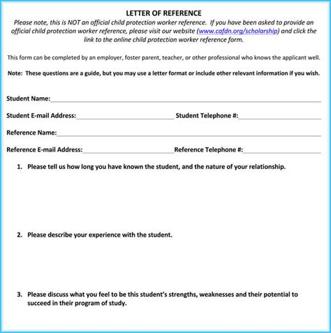 letter of recommendation for scholarship 8 free word excel