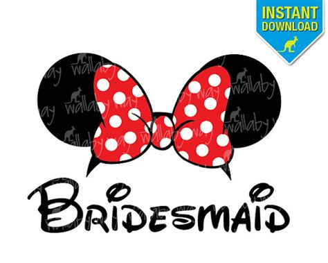printable bridesmaid iron on disney bridesmaid minnie ears printable iron on by
