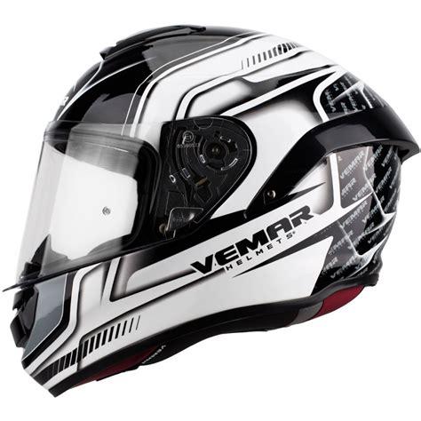 Motorradhelm Vemar motorradhelm vemar hurricane racing helm weiss schwarz