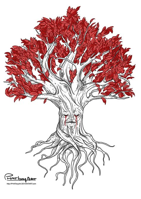 weirwood tree tattoo design by phatboyart on deviantart