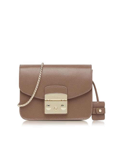 Furla Daino furla metropolis color daino leather mini crossbody bag in