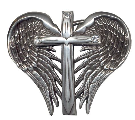 cross with wings tattoo design religious belt buckles