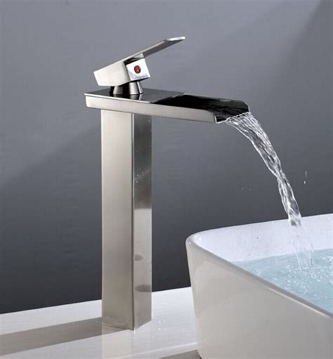 brushed nickel bathroom sink faucet vessel waterfall one