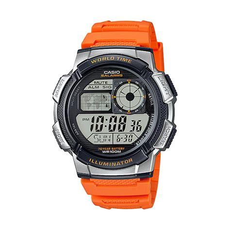 Jam Tangan Casio Original Pria Ae 1000w 4b jual casio illuminator world time ae 1000w 4b jam tangan