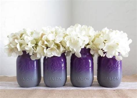 purple and gray wedding centerpieces purple and gray ombre jars with glitter base accent