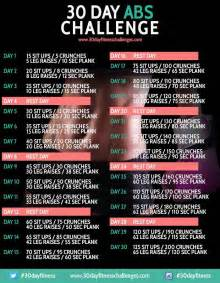 30 day abs challenge 30 day fitness challenges