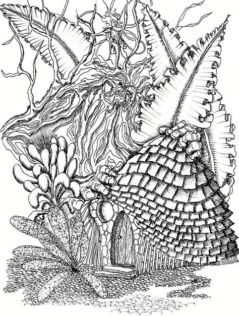 fairy house forest guardian and ferns drawing by dawn boyer