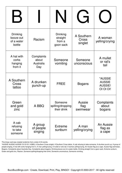 day bingo australia day bingo cards to print and customize