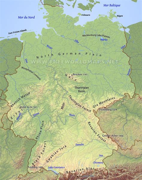 maps germany directions germany physical map