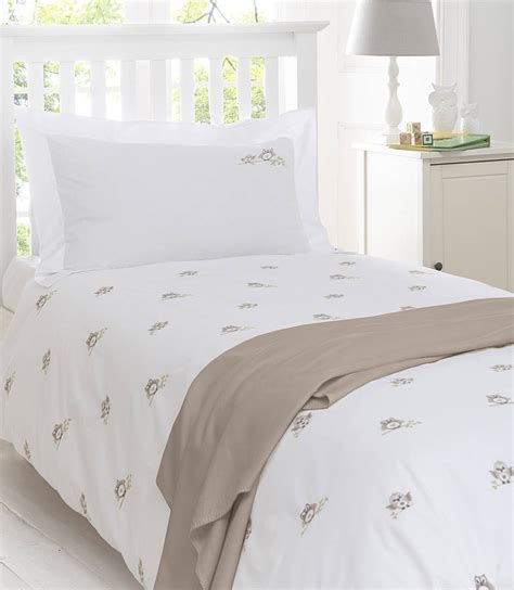 embroidered bedding owls embroidered bedding natural by the fine cotton