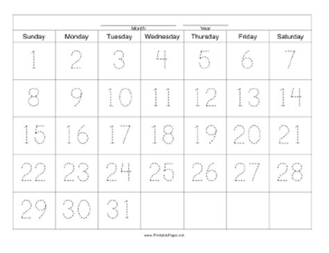 31 day calendar template printable handwriting calendar 31 day sunday