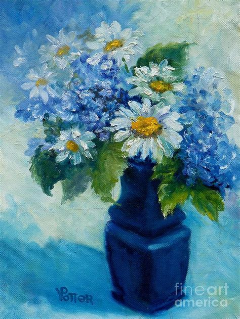 Blue Vase With Flowers by Blue Vase With Flowers Painting By Virginia Potter