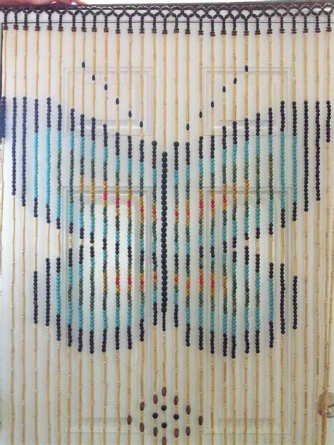 Wooden Bead Door Curtain Vintage Groovy Butterfly Design