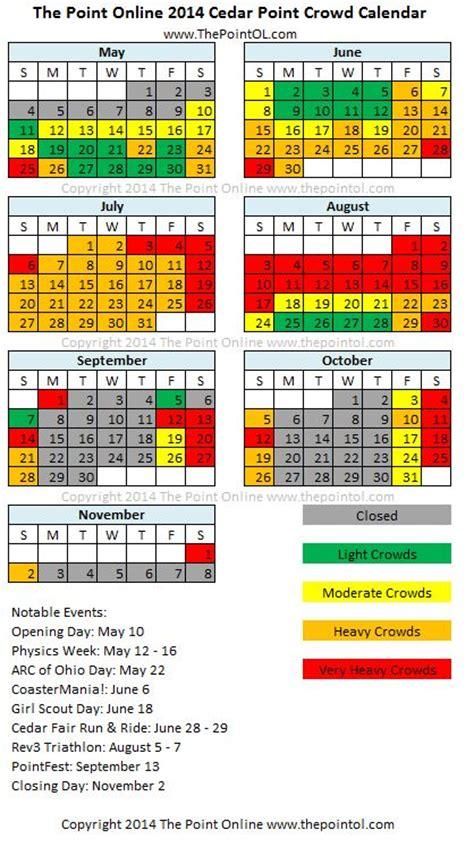 theme park crowd calendar cedar point crowd calendar the point online cedar