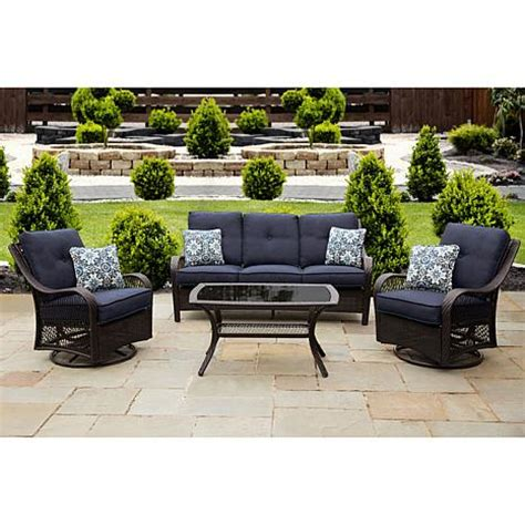 brown patio hanover orleans 4 brown patio set navy blue