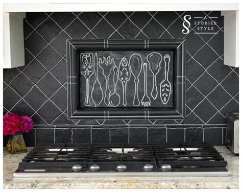 diy chalkboard backsplash diy painted blackboard backsplash decoist