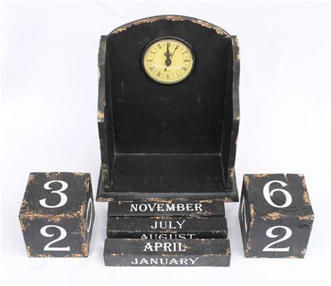 wohnaccessoires uhren uhr mit kalender 14b142 schwarz shabby kaminuhr standuhr