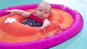 simone 15 wks old first time in pool likes her
