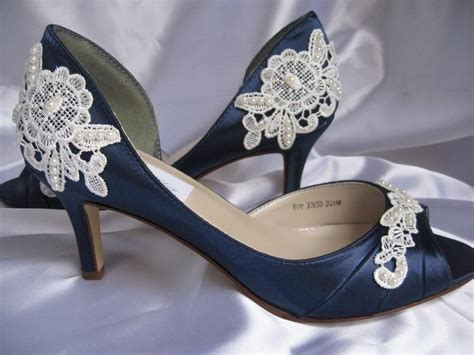 Wedding Shoes With Heel Detail by Unique Blue Wedding Shoes Low Heel Wedding Shoes Ideas