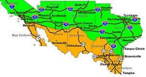mexico usa border map mexico map