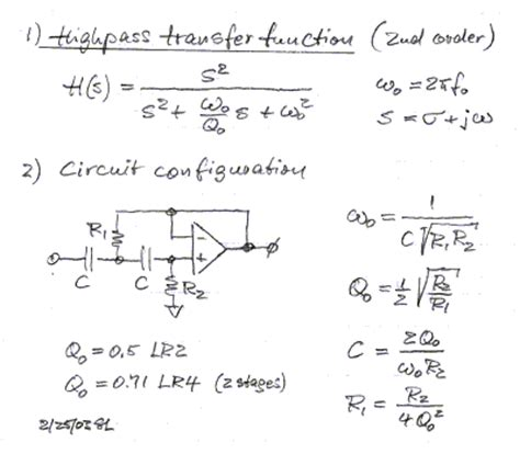high pass filter transfer function second order active filters
