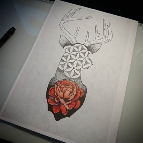 pattern of life tattoo dotwork deer with flower of life pattern and red peony