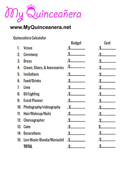 printable quinceanera planner quincea 241 era budget calculator quincea 241 era checklists