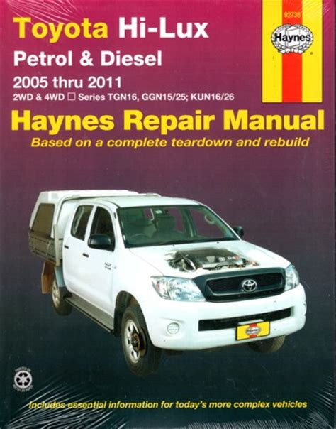 service manual best auto repair manual 2005 toyota toyota hi lux petrol and diesel 2wd and 4wd 2005 2015 haynes repair workshop manual new