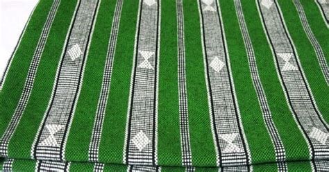 Tribal Stripes Green tribal fabric upholstery fabric handwoven fabric handmade textile in green and white stripe