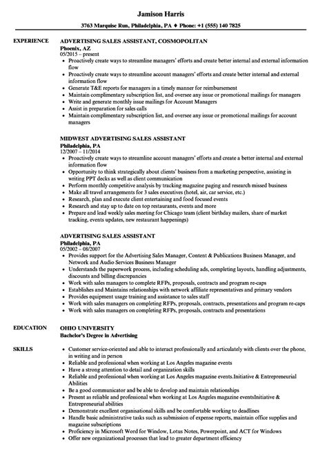 ad sales assistant resume   write  perfect sales