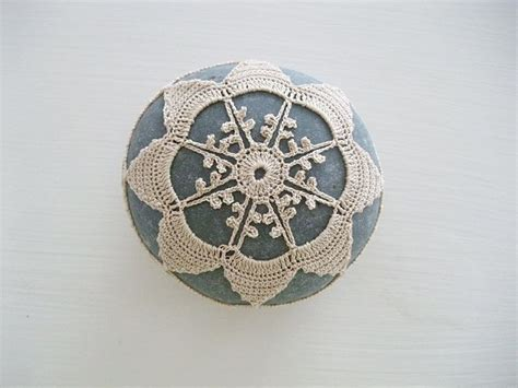 Handmade Paper Weight - crochet lace pebble home deco paper weight