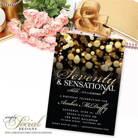 sensational theme surprise 70th birthday party invitation with gold glitter