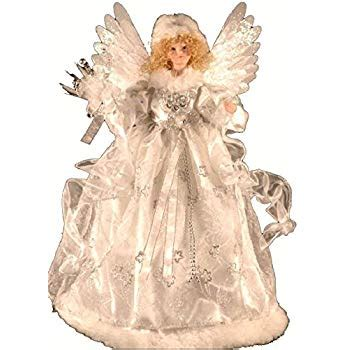 motorized angel tree topper wings head and arms move animated white fiber optic tree topper 18 quot wings arms move