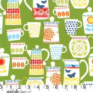 Retro Kitchen Fabric by Michael Miller Put A Lid On It Electric Green Retro Kitchen Cotton Quilt Fabric By The Yard